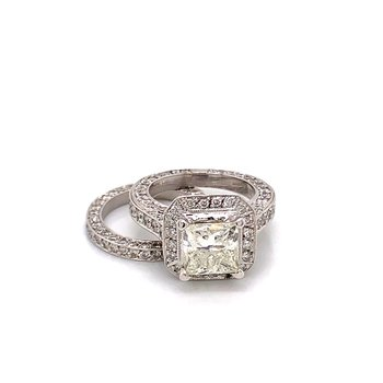 14KT White Gold Diamond Ring Bridal Set