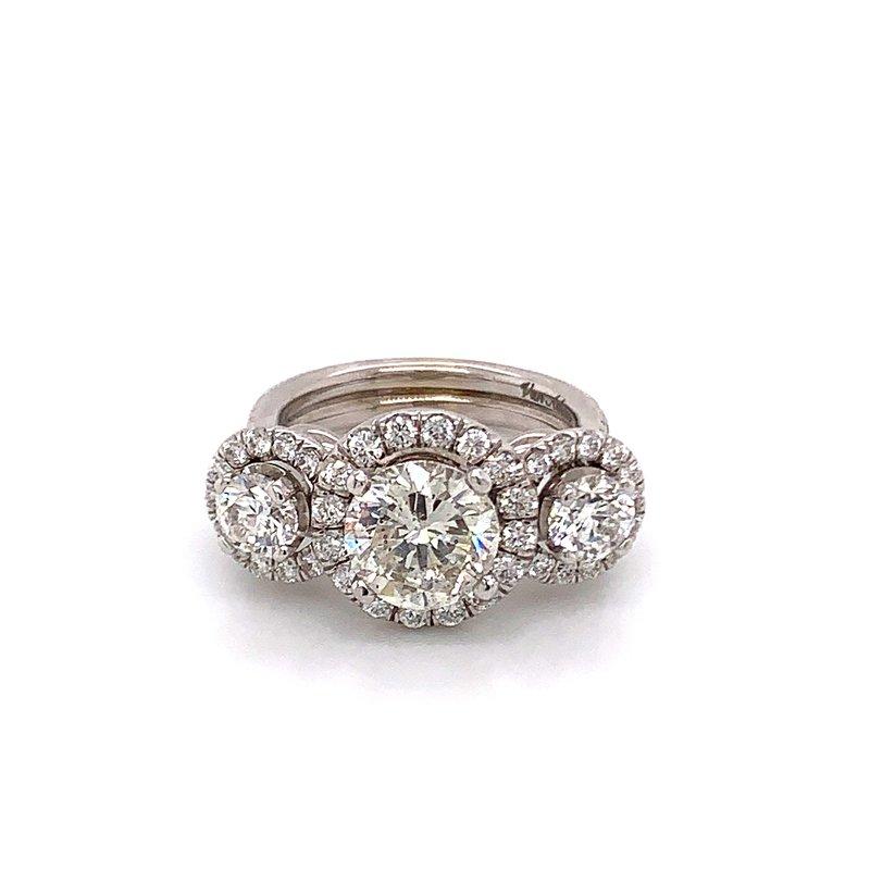 Van Atkins 14KT White Gold 3 Stone Diamond Ring
