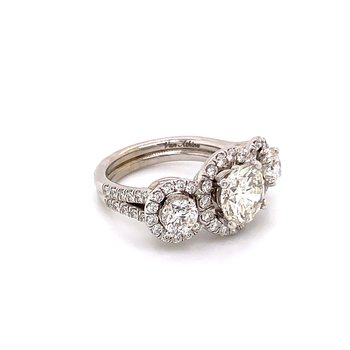 14KT White Gold 3 Stone Diamond Ring