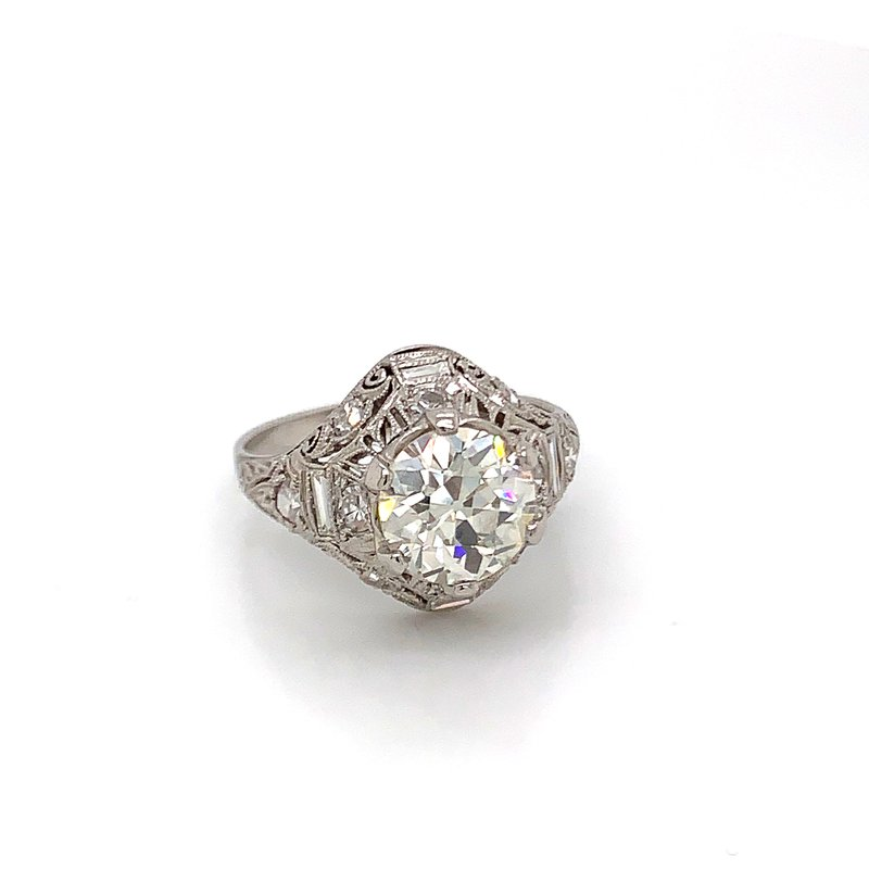 Van Atkins Estate Platinum Diamond Ring