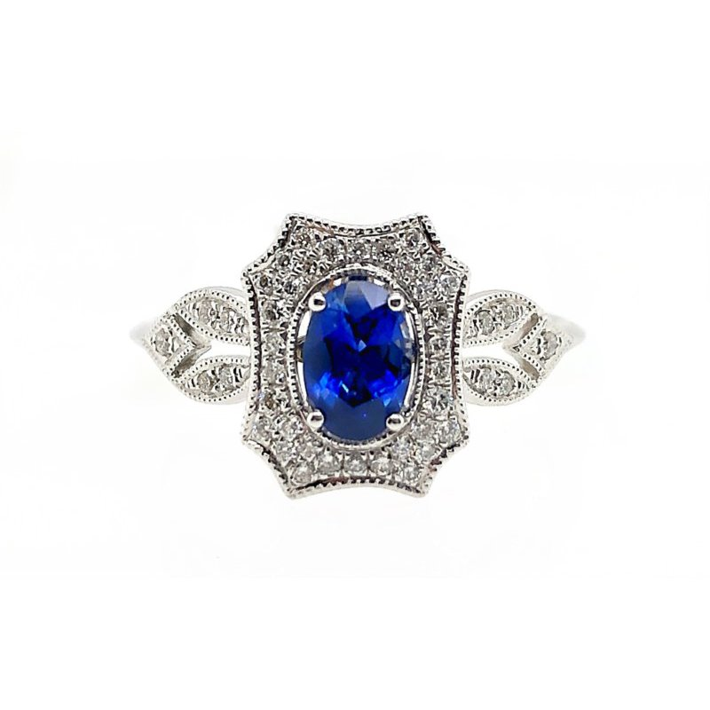 Lauray's Signature Collection White Gold Sapphire and Diamond Ring