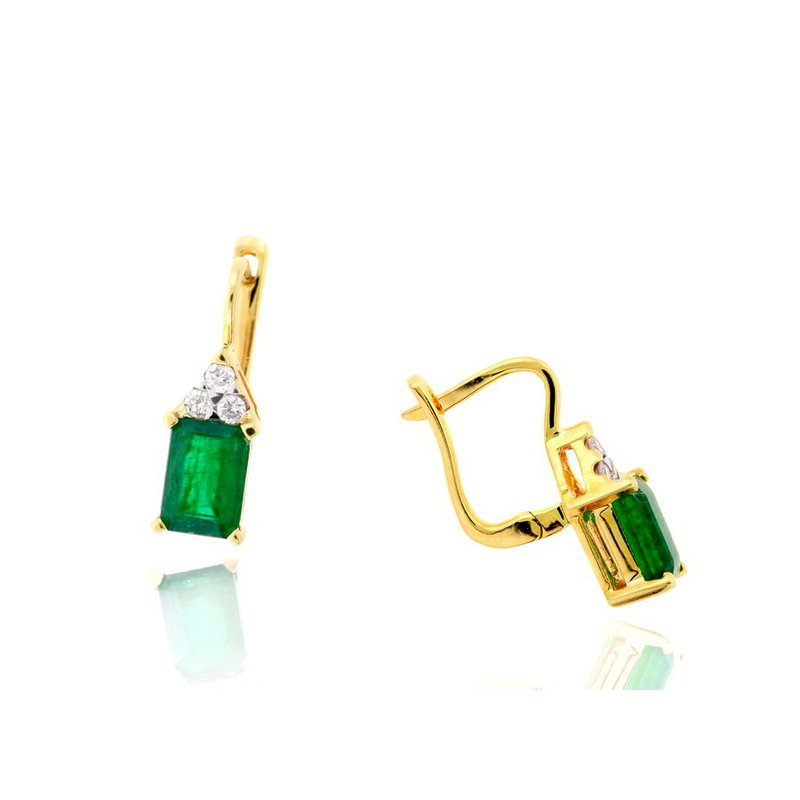 Lauray's Signature Collection Yellow Gold Emerald and Diamond Earrings