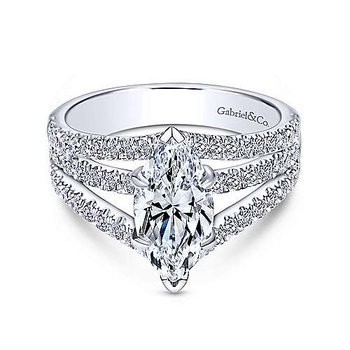 White Gold Marquise Shape Split Shank Diamond Semi Mounting
