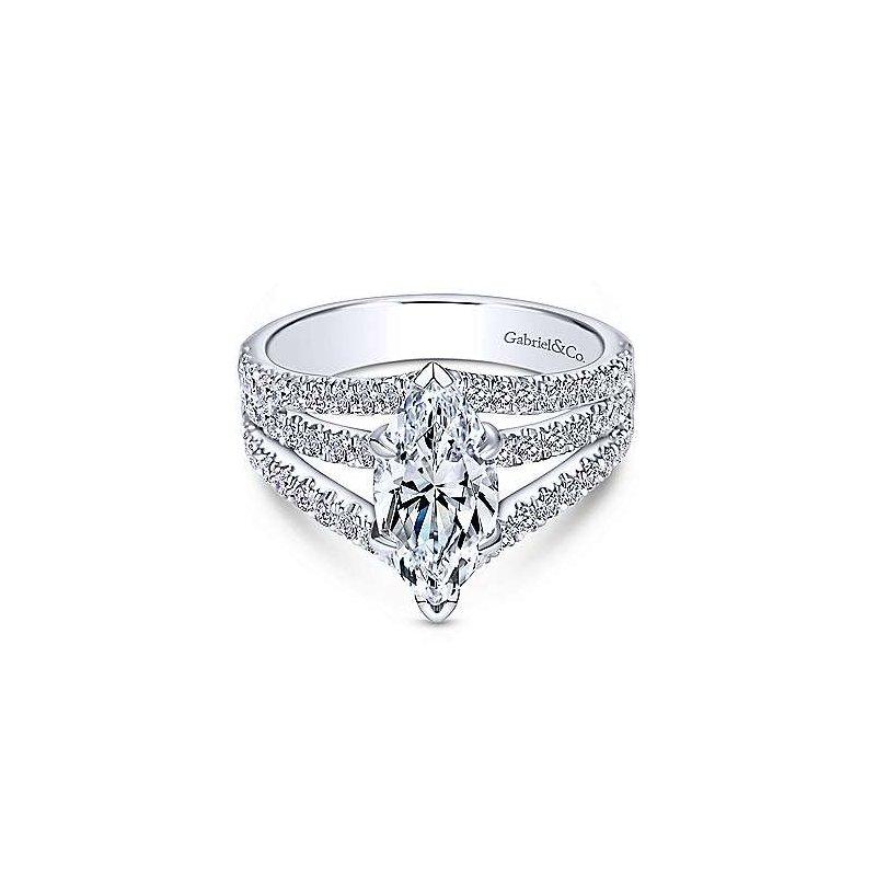 Gabriel Catalog White Gold Marquise Shape Split Shank Diamond Semi Mounting
