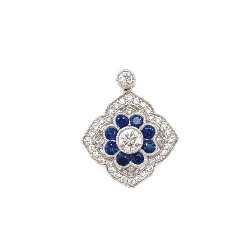 Lauray's Signature Collection White Gold Blue Sapphire and Diamond Pendant