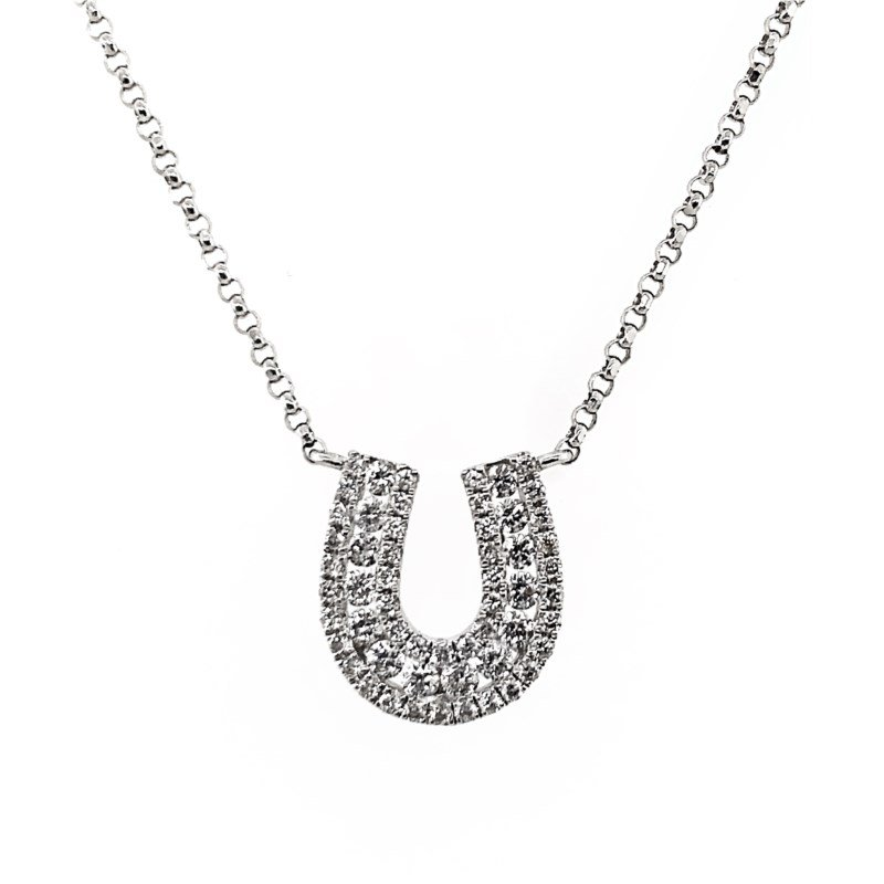 Lauray's Signature Collection White Gold Diamond Horseshoe Necklace