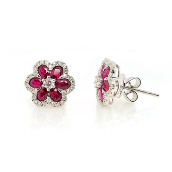White Gold Ruby and Diamond Studs