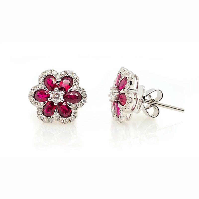 Lauray's Signature Collection White Gold Ruby and Diamond Studs