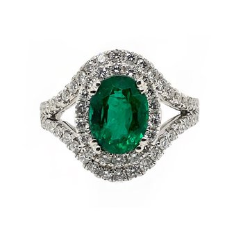 White Gold Emerald Fashion Ring