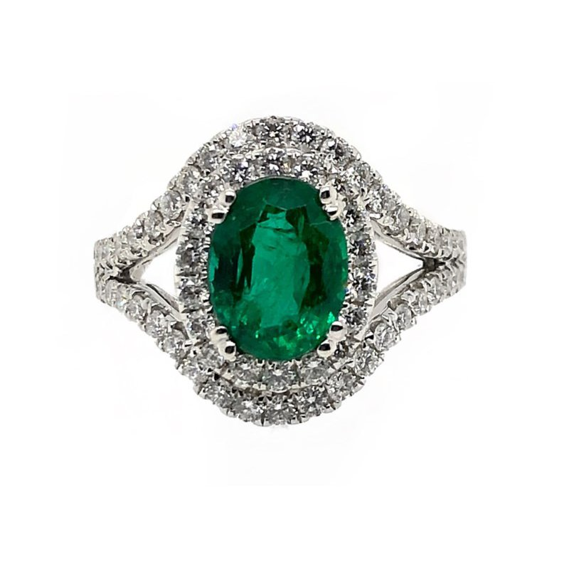 Lauray's Signature Collection White Gold Emerald Fashion Ring