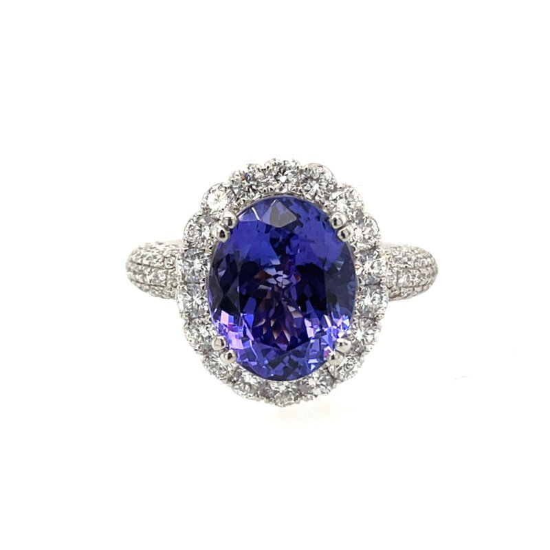 Lauray's Signature Collection White Gold Tanzanite and Diamond Ring