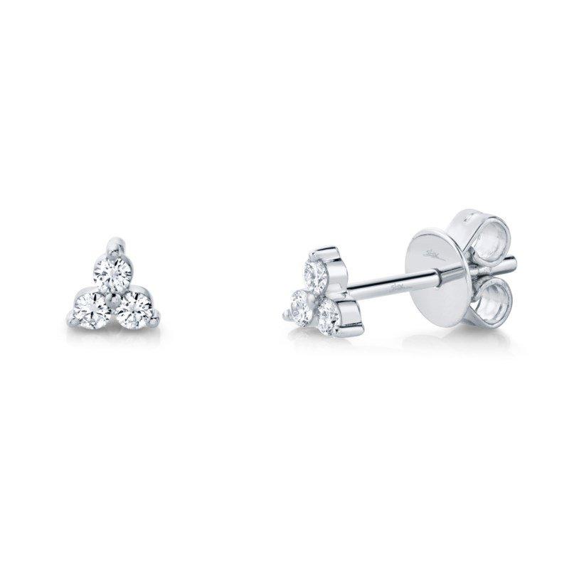 Shy Creation White Gold Diamond Stud Earrings