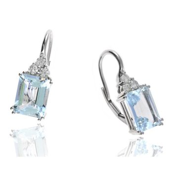 White Gold Aquamarine and Diamond Earrings