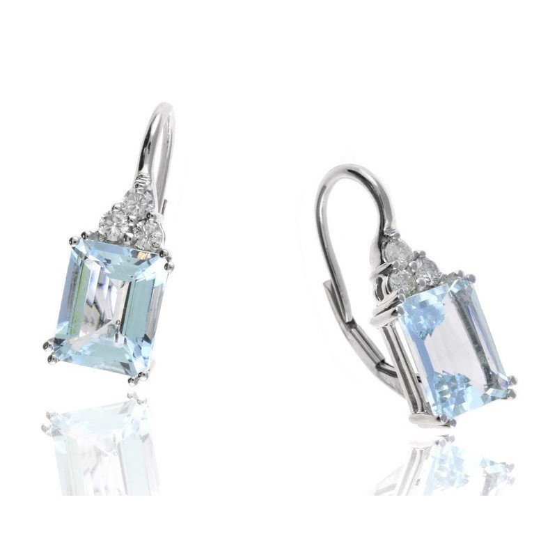 Lauray's Signature Collection White Gold Aquamarine and Diamond Earrings