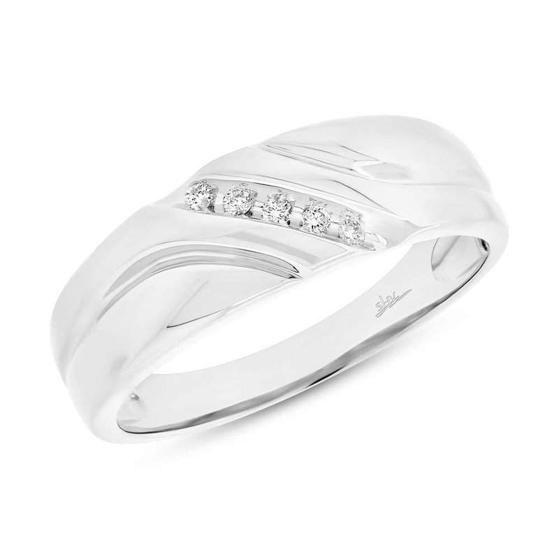 Shy Creation White Gold Diamond Men's Band