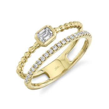 Yellow Gold Diamond Emerald Double Band