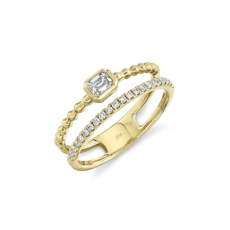 Shy Creation Yellow Gold Diamond Emerald Double Band