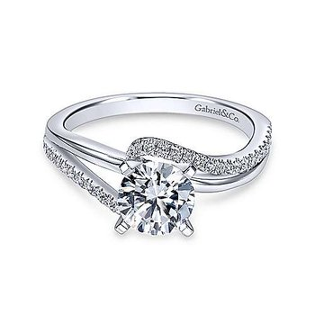 14K White Gold Round Bypass Diamond Engagement Ring Setting