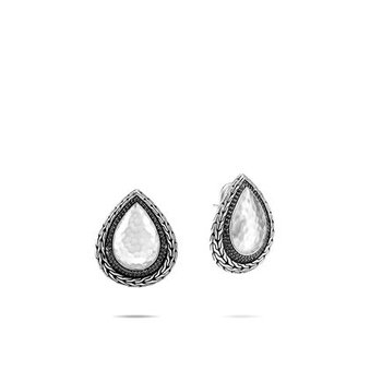 Classic Chain Hammered Earring, Black Sapphire, Spinel