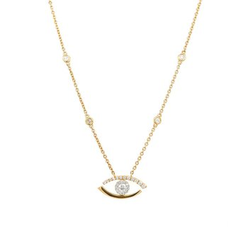 Yellow Gold Evil Eye Diamond Necklace