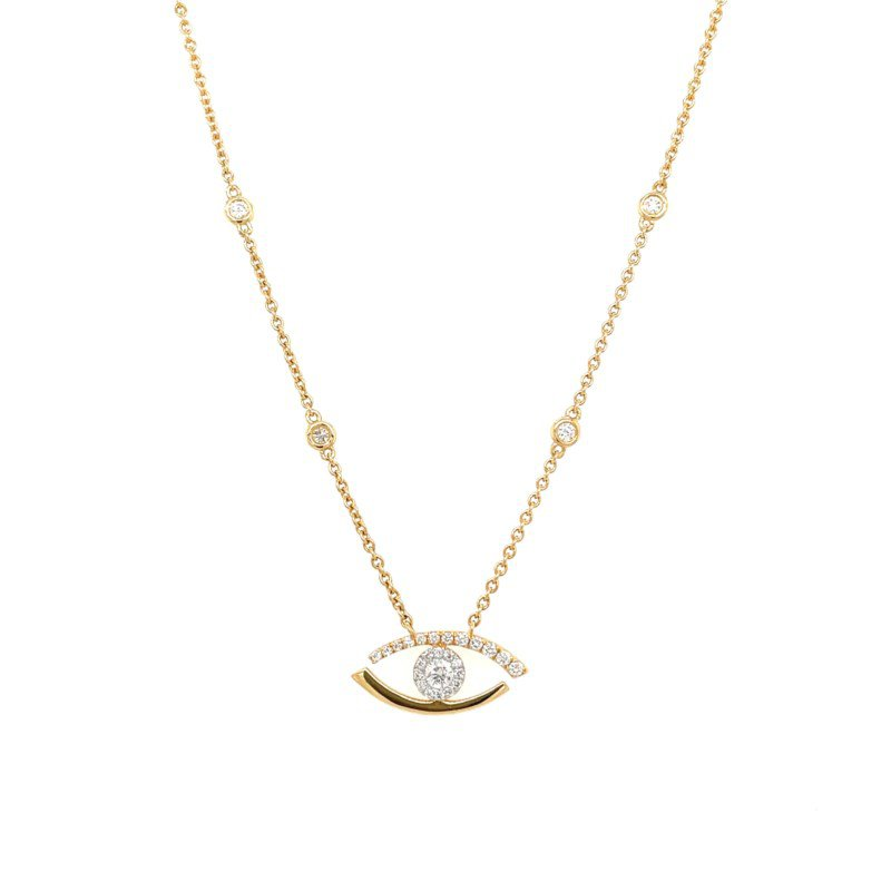 Lauray's Signature Collection Yellow Gold Evil Eye Diamond Necklace