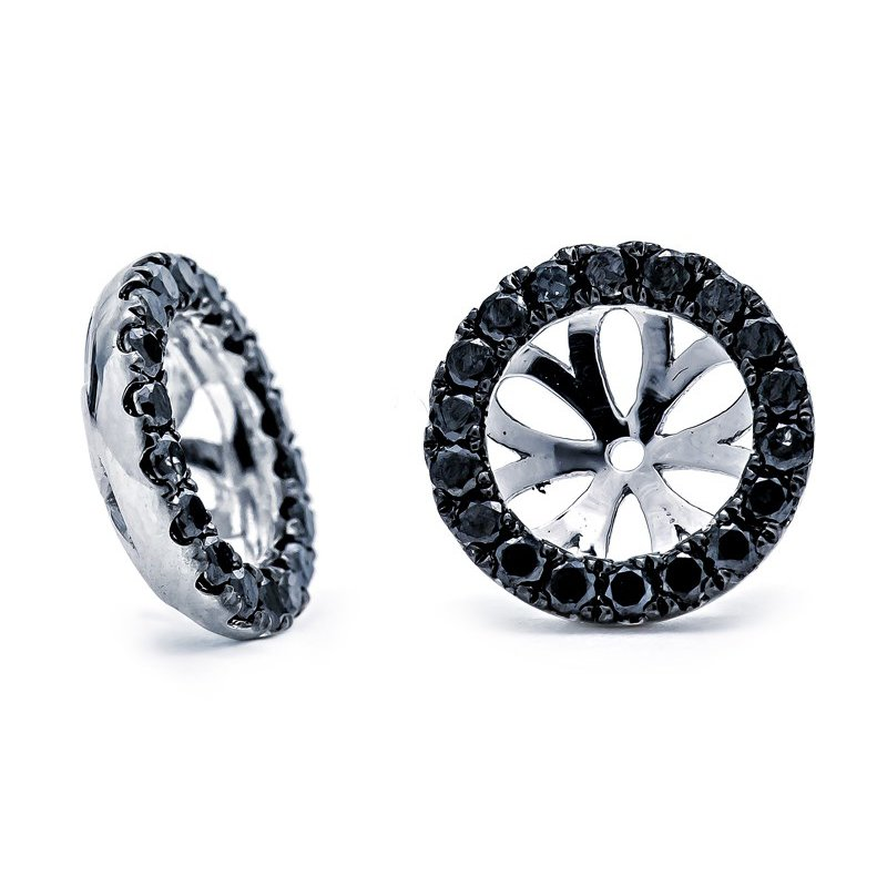 Lauray's Signature Collection White Gold Black Diamond Ear Jackets
