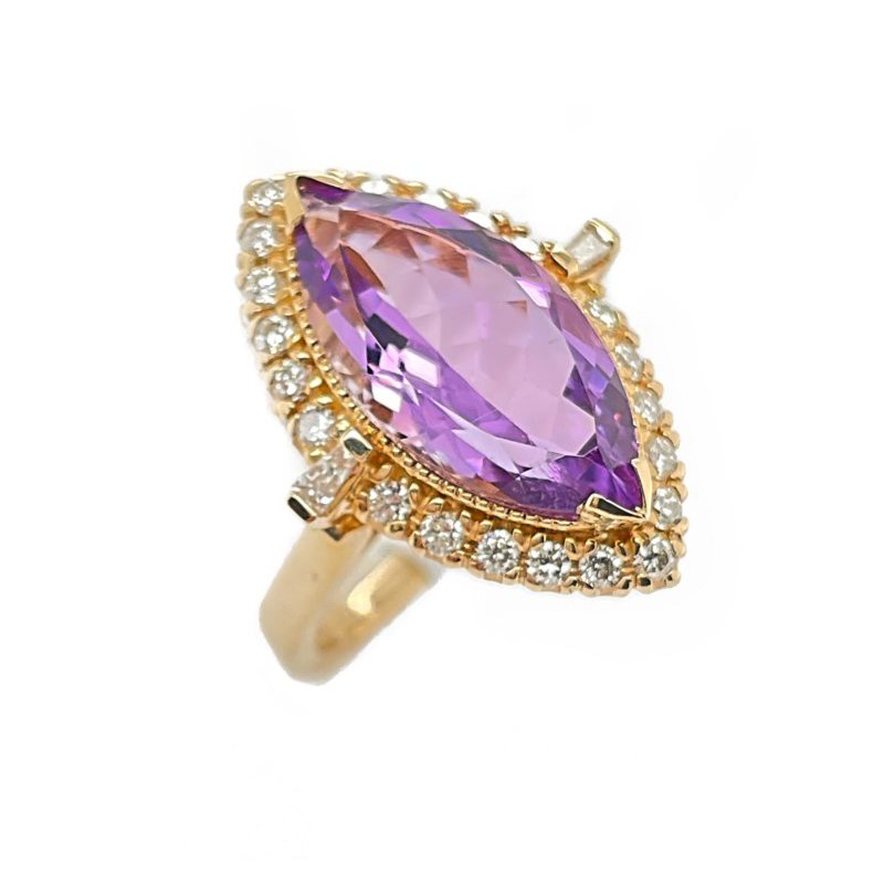 Lauray's Signature Collection Yellow Gold Amethyst and Diamond Ring