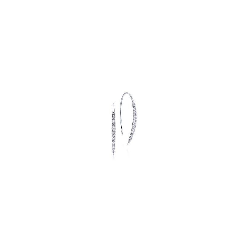 Gabriel Catalog Slim Tapered Diamond Drop Earrings