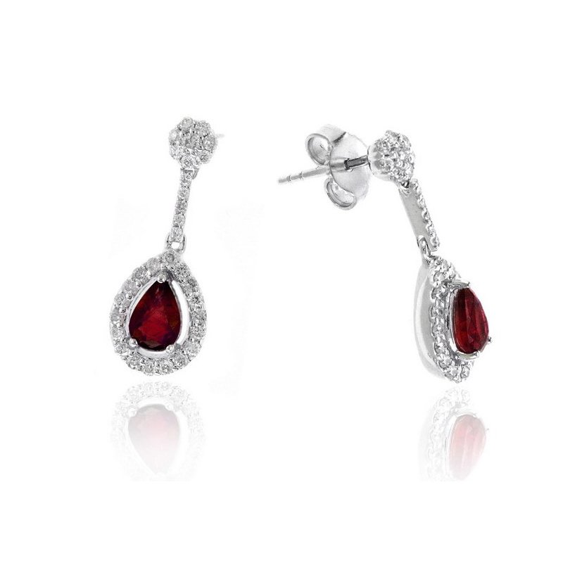 Lauray's Signature Collection White Gold Ruby and Diamond Earrings