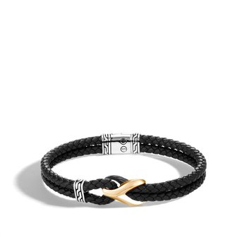Asli Classic Chain Link Bracelet with Black Leather
