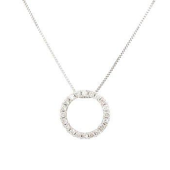 White Gold Circle Diamond Necklace