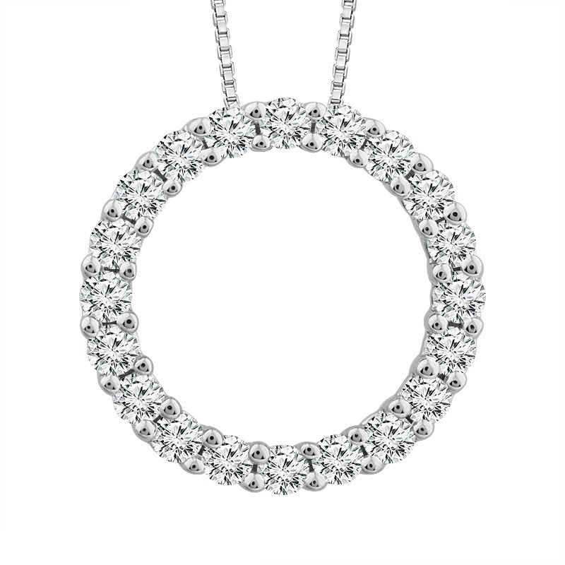 Lauray's Signature Collection White Gold Circle Diamond Necklace