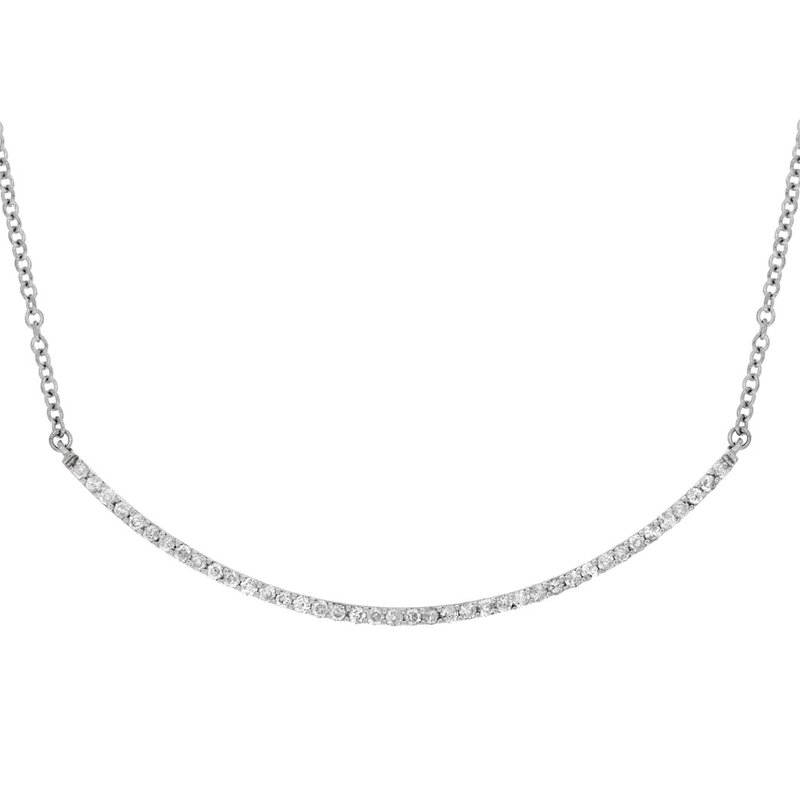 Lauray's Signature Collection White Gold Bar Necklace
