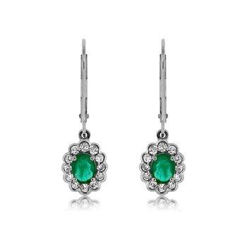 White Gold Diamond and Emerald Dangle Earrings