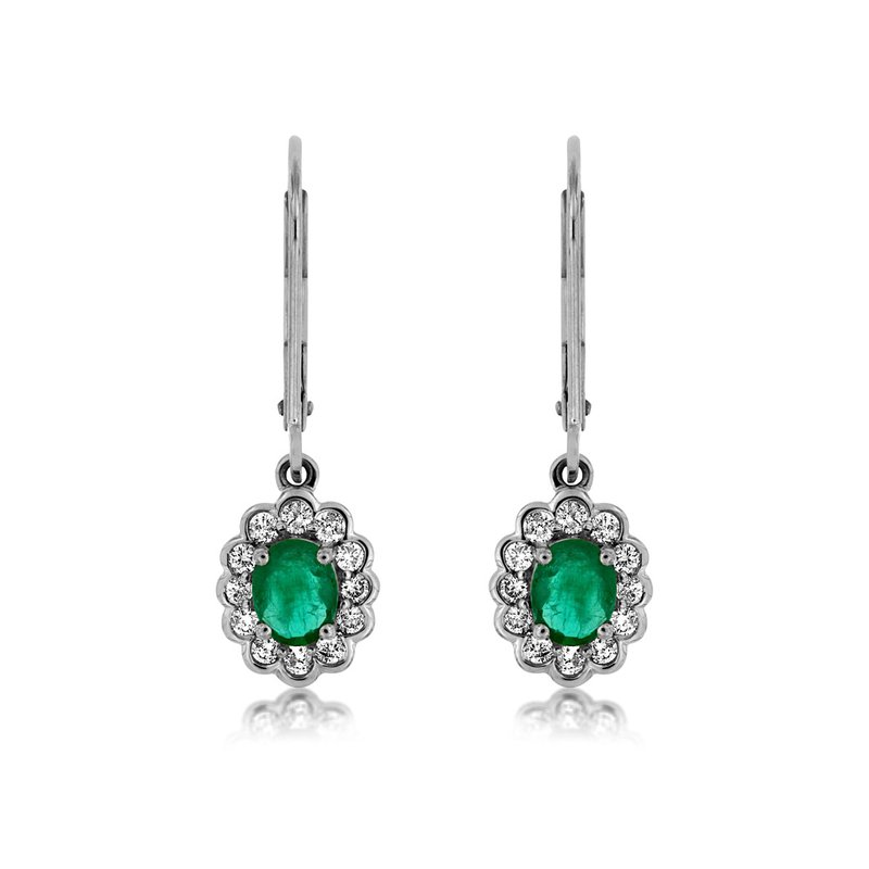 Lauray's Signature Collection White Gold Diamond and Emerald Dangle Earrings