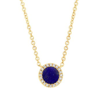 Yellow Gold Diamond and Lapis Necklace