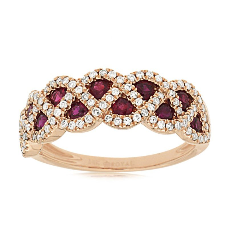 Lauray's Signature Collection Rose Gold Ruby and Diamond Ring