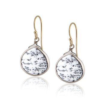 Dendrite Opal Fish Hook Earrings