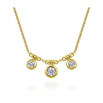 Bezel Set Diamond Drop Necklace
