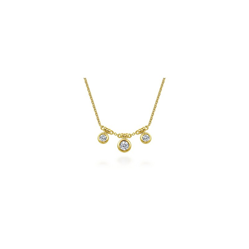 Gabriel & Co Bezel Set Diamond Drop Necklace