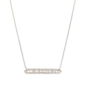 White Gold Baguette Diamond Bar Necklace