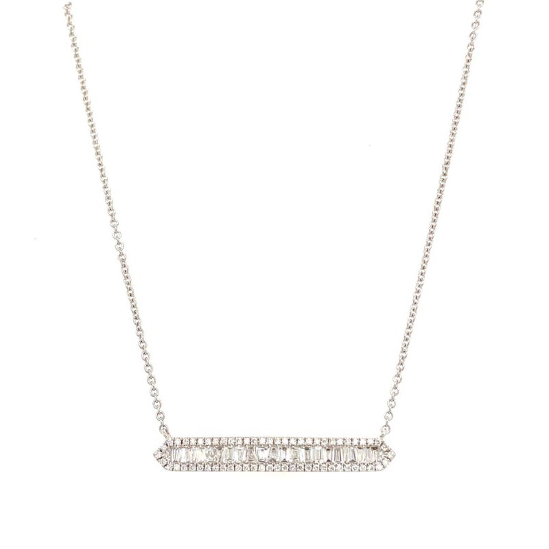 Lauray's Signature Collection White Gold Baguette Diamond Bar Necklace