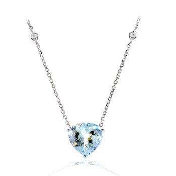 White Gold Aquamarine Heart Necklace