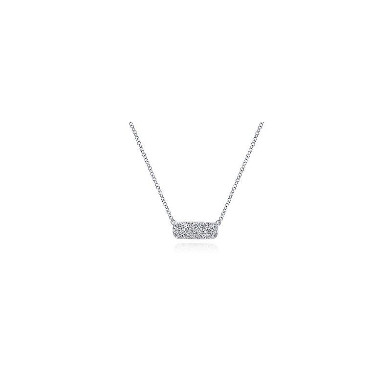 Gabriel & Co Rectangular Diamond Pendant Necklace