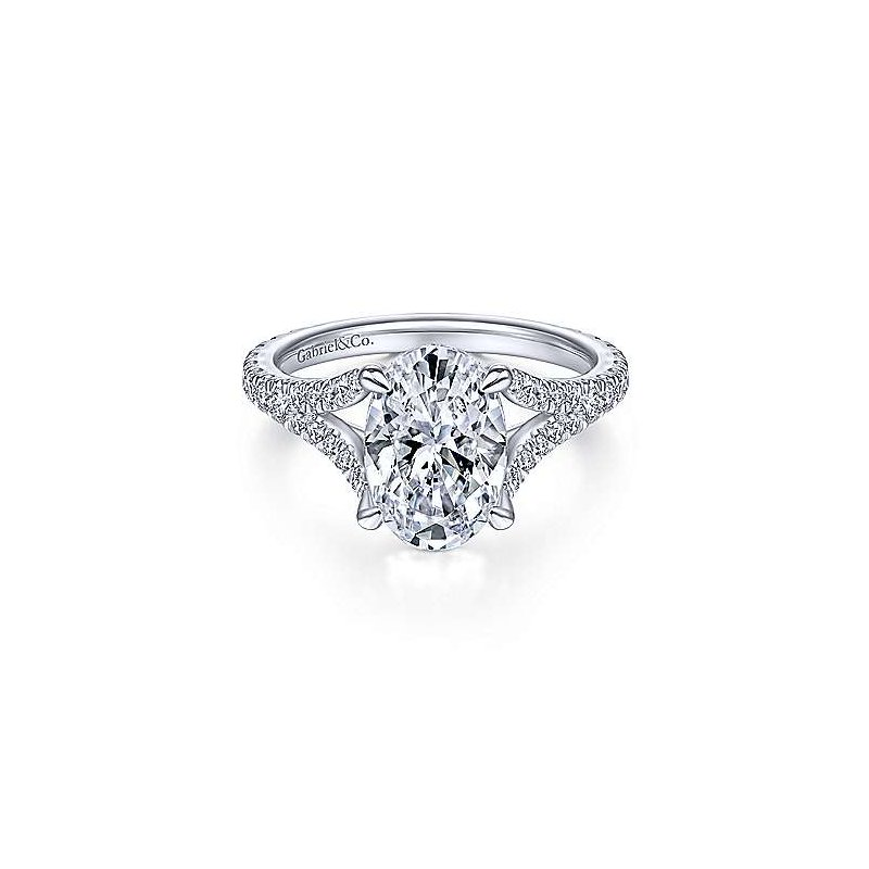Gabriel & Co White Gold Oval Diamond Semi Mounting