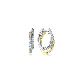 Layered  Diamond Huggie Earrings