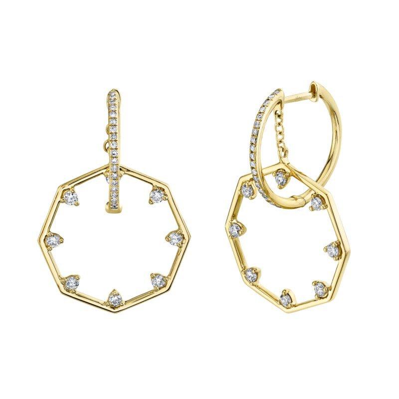 Shy Creation Yellow Gold Diamond Octagon Earrings