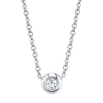 White Gold Diamond Bezel Necklace