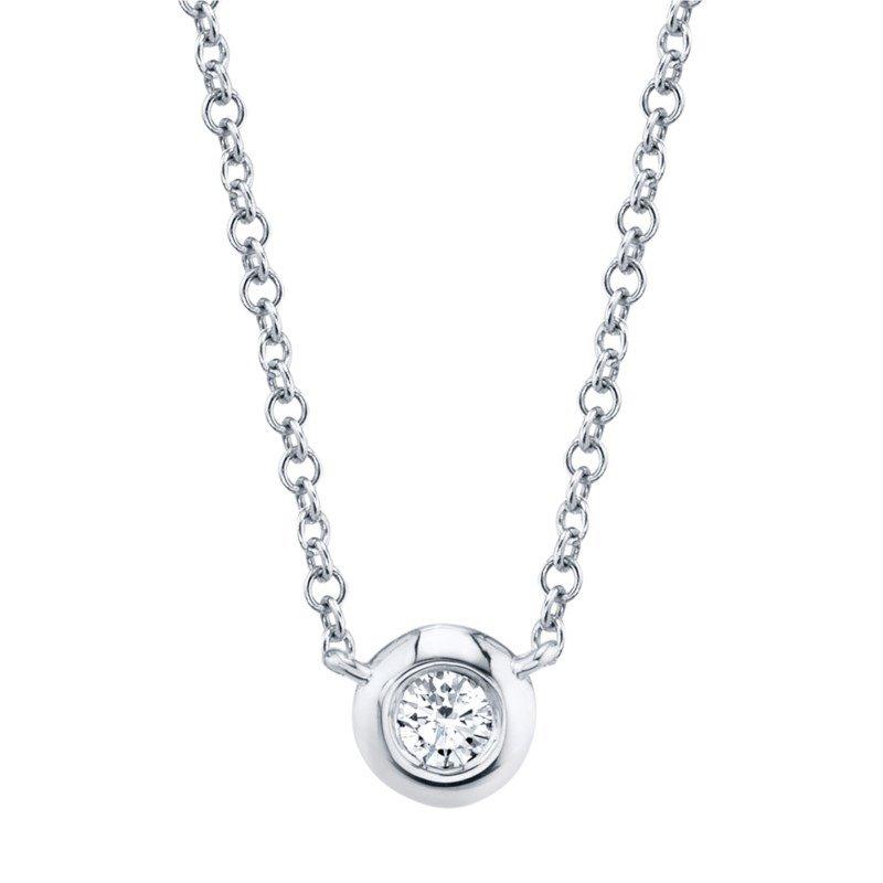 Shy Creation White Gold Diamond Bezel Necklace