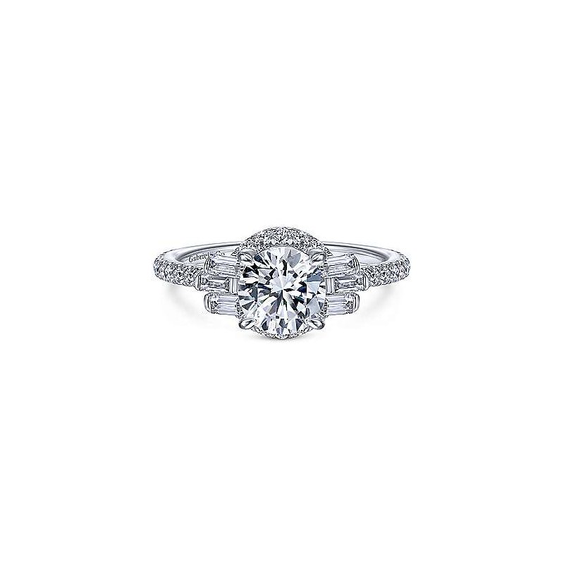 Gabriel Catalog White Gold Round Halo Diamond Semi Mounting